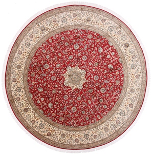 10x10 Round Silk Kashmir Persian rug