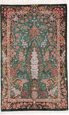 3x2 800KPSI silk qum Persian rug, signed qom carpet