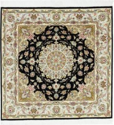 5x5 Square Tabriz Persian rug with silk