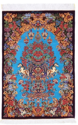 3x2 900KPSI silk qum Persian rug, signed qom carpet