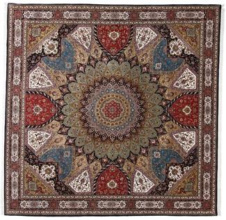 10x10 Square Tabriz Gonbad Persian rug