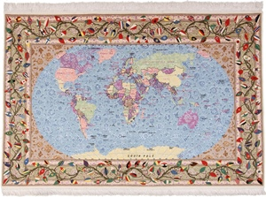 World Map Pictorial Tabriz Silk Persian Rug