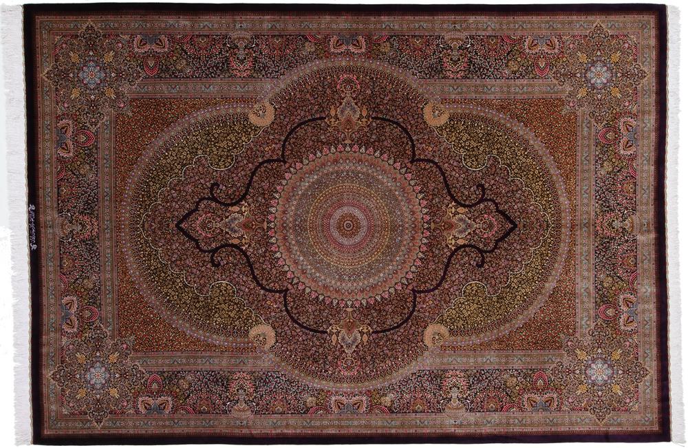 9x6 900+ kpsi pure silk Qum Persian rug